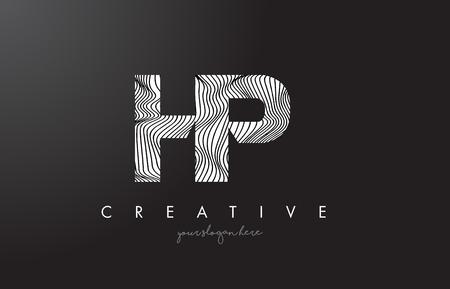 HP H P Letter Logo with Zebra Lines Texture Design Vector Illustration.