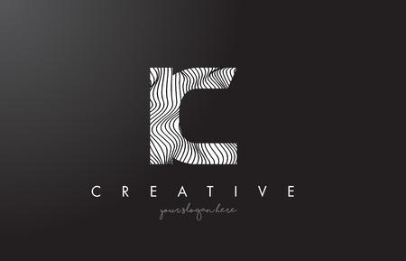 ic: IC I C Letter Logo with Zebra Lines Texture Design Vector Illustration.