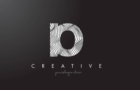 IO I O Letter Logo with Zebra Lines Texture Design Vector Illustration. Ilustração