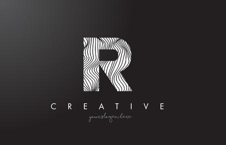 IR I R Letter Logo with Zebra Lines Texture Design Vector Illustration.