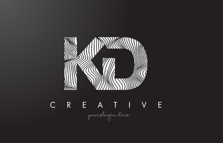 KD K D Letter Logo with Zebra Lines Texture Design Vector Illustration.