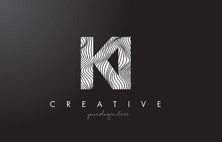 KI K I Letter Logo with Zebra Lines Texture Design Vector Illustration.