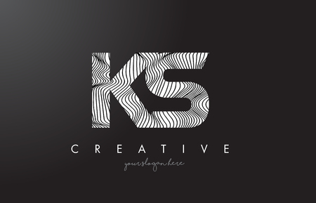KS K S Letter Logo with Zebra Lines Texture Design Vector Illustration.
