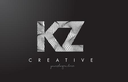 kz: KZ K Z Letter Logo with Zebra Lines Texture Design Vector Illustration.