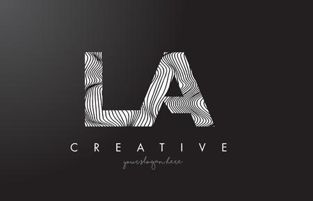 LA L A Letter Logo with Zebra Lines Texture Design Vector Illustration. Illustration