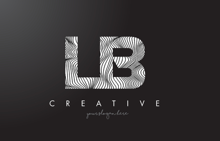 LB L B Letter Logo with Zebra Lines Texture Design Vector Illustration.