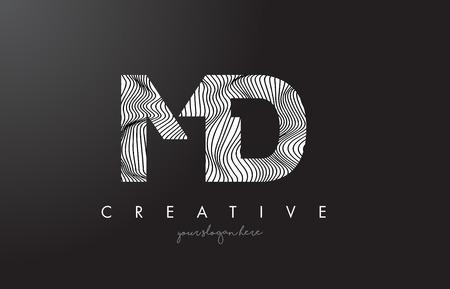 MD M D Letter Logo with Zebra Lines Texture Design Vector Illustration. Illustration