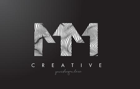 MM M M Letter Logo with Zebra Lines Texture Design Vector Illustration.