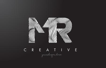 MR M R Letter Logo with Zebra Lines Texture Design Vector Illustration.