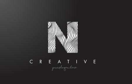 NI N I Letter Logo with Zebra Lines Texture Design Vector Illustration.