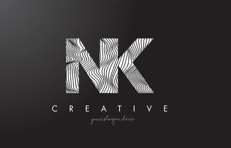 NK N K Letter Logo with Zebra Lines Texture Design Vector Illustration.