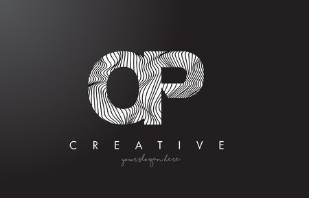 OP O P Letter Logo with Zebra Lines Texture Design Vector Illustration.
