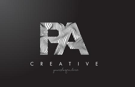 PA PA Letter Logo met Gestreepte Lijnen textuur ontwerp vectorillustratie. Stock Illustratie