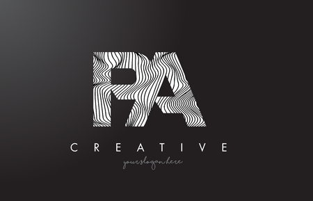 PA P A Letter Logo with Zebra Lines Texture Design Vector Illustration.