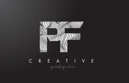 PF P F Letter Logo with Zebra Lines Texture Design Vector Illustration. Illustration
