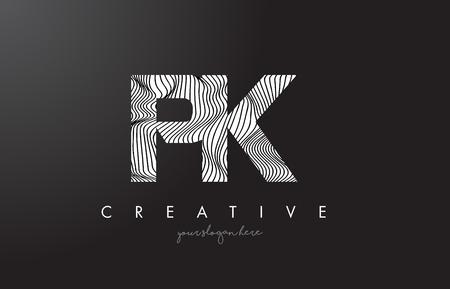 PK P K Letter Logo with Zebra Lines Texture Design Vector Illustration. Logó