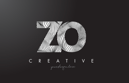 ZO, Z, O listowy logo z zebrą wykłada tekstura projekta wektoru ilustrację.