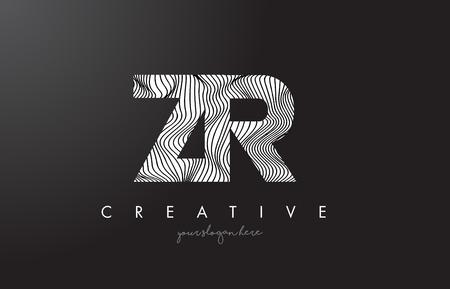 ZR, Z, R letter logo with zebra lines texture design vector illustration.