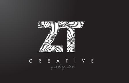 Zebra çizgileriyle ZT, Z, T harf logosu doku tasarımı vektör illüstrasyonu.