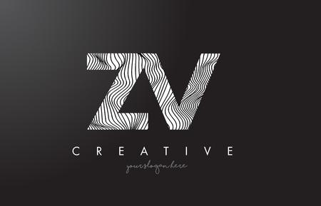 ZV, Z, V letter logo with zebra lines texture design vector illustration.