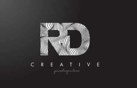RD, R, D letter logo with zebra lines texture design vector illustration.