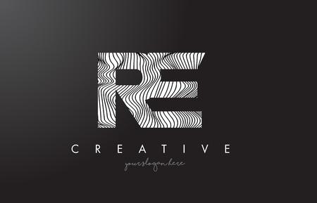 RE, R, E letter logo with zebra lines texture design vector illustration.