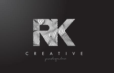 RK, R, K letter logo with zebra lines texture design vector illustration.