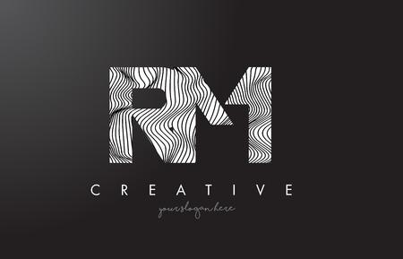 RM, R, M letter logo with zebra lines texture design vector illustration.