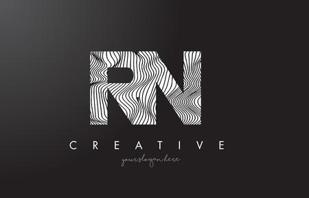 RN, R, N letter logo with zebra lines texture design vector illustration.