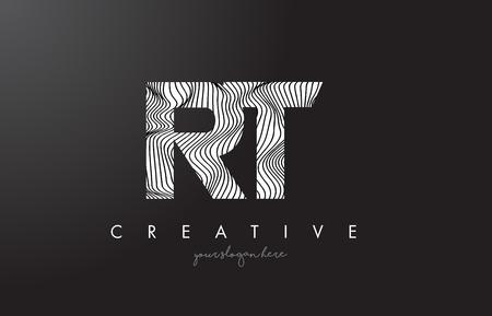 RT, R, T letter logo with zebra lines texture design vector illustration.