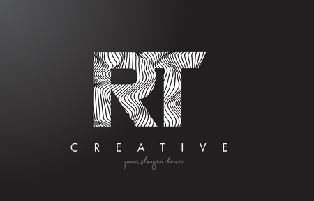RT, R, T letter logo with zebra lines texture design vector illustration.