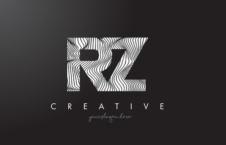 RZ, R, Z letter logo with zebra lines texture design vector illustration.