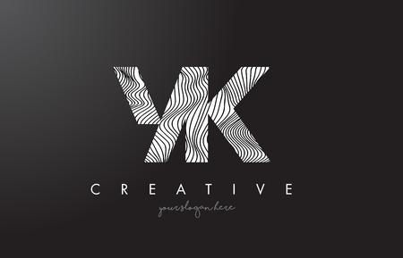 YK, Y, K letter logo with zebra lines texture design vector illustration.