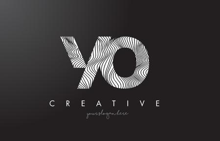 YO, Y, O letter logo with zebra lines texture design vector illustration.