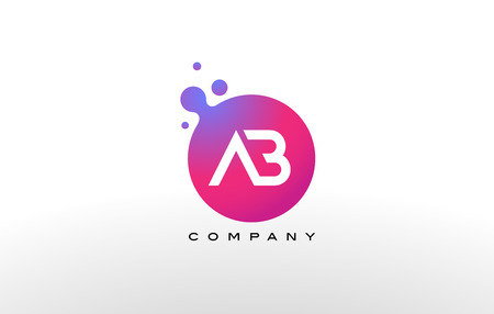 AB Letter Dots Logo Design with Creative Trendy Bubbles and Purple Magenta Colors. Illustration