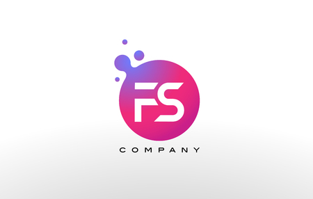 FS Letter Dots Logo Design with Creative Trendy Bubbles and Purple Magenta Colors.