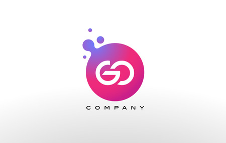 GO Letter Dots Logo Design with Creative Trendy Bubbles and Purple Magenta Colors.