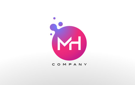 MH Letter Dots Logo Design with Creative Trendy Bubbles and Purple Magenta Colors.