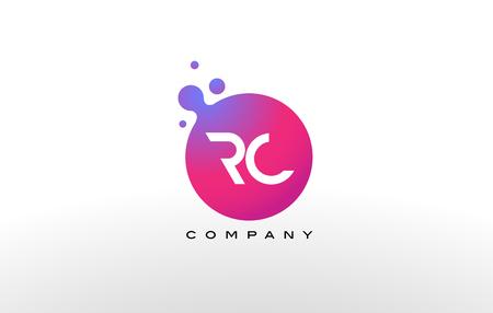RC の文字がドット創造的なトレンディな泡とマゼンタの紫の色とロゴのデザイン。 写真素材 - 77893749