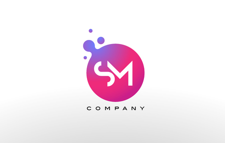 SM Letter Dots Logo Design with Creative Trendy Bubbles and Purple Magenta Colors.