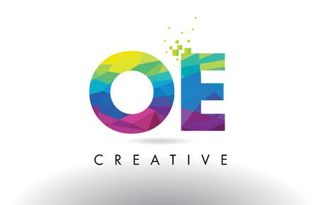 OE O E Colorful Letter Design with Creative Origami Triangles Rainbow Vector.