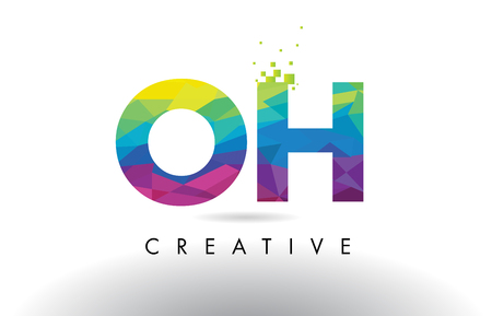 OH O H Colorful Letter Design with Creative Origami Triangles Rainbow Vector.