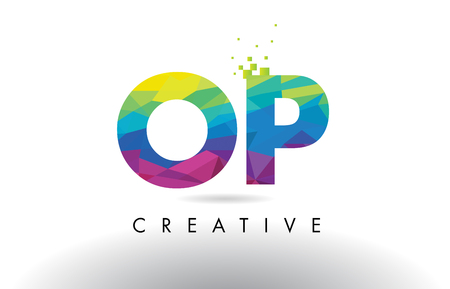OP O P Colorful Letter Design with Creative Origami Triangles Rainbow Vector.