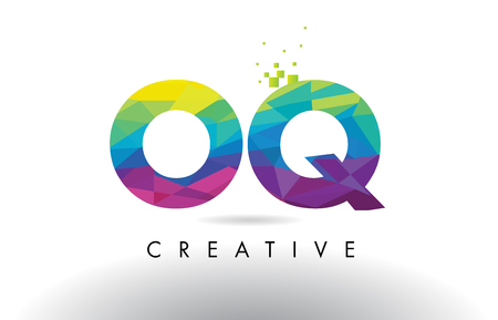 OQ O Q Colorful Letter Design with Creative Origami Triangles Rainbow Vector.