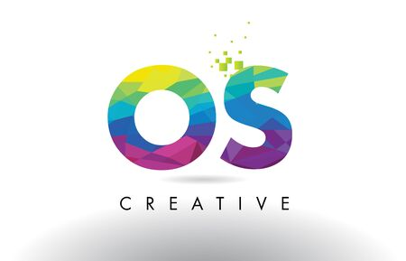 OS O S Colorful Letter Design with Creative Origami Triangles Rainbow Vector. Illustration