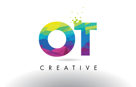 OT O T Colorful Letter Design with Creative Origami Triangles Rainbow Vector. Illustration