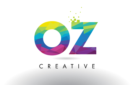OZ O Z Colorful Letter Design with Creative Origami Triangles Rainbow Vector.
