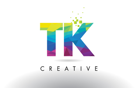 TK T K Colorful Letter Design with Creative Origami Triangles Rainbow Vector.