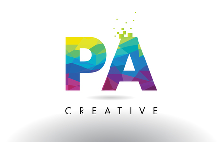 PA P A Colorful Letter Design with Creative Origami Triangles Rainbow Vector.