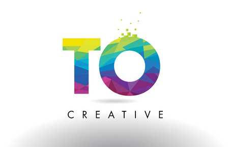 TO T O Colorful Letter Design with Creative Origami Triangles Rainbow Vector.